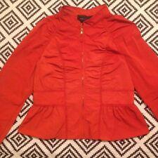 Bcbg Maxazria Bright Orange Ruched Fitted Peplum Jacket -Windbreaker/Coat  L