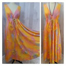 1960-70s Vintage DRESS~Mod Psychedelic Hippie Watercolor~Extreme Aline! 34-36B