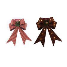 Christmas LED Light Up Bow Hanging Decoration 64cm Striped