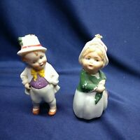 """Vintage Lot of 2 Oddball Bisque Germany Bobber Boy and Girl Figurines 3"""" Tall"""
