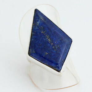 Natural Lapis Lazuli Ring IN 925 Silver Gemstone Jewelry Blue Real Gr.16/56