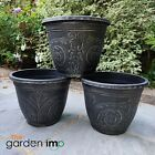 Round Garden Decorative Planter Pot Outdoor Ornate Black Gothic 30cm Plant Pots
