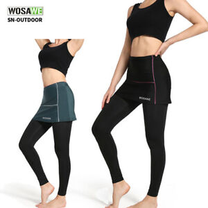 Women Cycling Tight Pants with Short Skirts Elastic Gel Padded MTB Bike Trousers