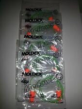 Moldex Mellows foam ear plugs with cord. Package of 5 pairs.