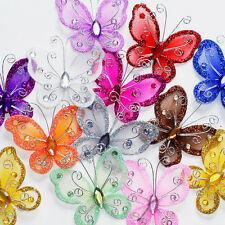 """24 Organza Tulle Wire Butterfly Butterflies Nylon Wedding Arts Crafts Decor 2"""""""