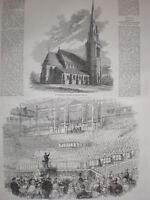 Church of St Matthias Richmond Surrey 1858 old print
