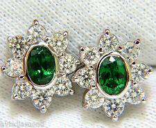 █$6700 3.34CT NATURAL GEM GREEN TSAVORITE DIAMOND CLUSTER HALO EARRINGS 14KT █