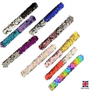 Reversible Sequin SLAP BANDS Kids Wrist Snap Party Bag Filler Toy Gift T500 UK