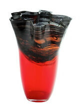"New 9"" Hand Blown Glass Art Vase Red Black Handkerchief Ruffle Fluted Decorative"