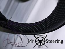 FOR MORRIS MINOR PERFORATED LEATHER STEERING WHEEL COVER PURPLE DOUBLE STITCHING
