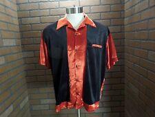 WOW Red Satin black Velveteen Retro Classic Bowling Shirt men's sz M BC Ethic