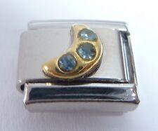 GOLD MOON w/ BLUE GEMS Italian Charm 9mm fits Classic Bracelets March Crystal E7
