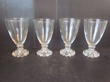 4 Vtg Anchor Hocking Boopie Juice Wine Water Glasses w Candlewick Beaded Base