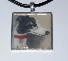 Altered Art Blk + White Greyhound Dog SP Setting, Genuine Leather Necklce