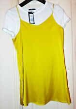 M&s Lime Tunic With White T Shirt Top, size 14 Bnwt
