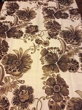 Brown Flowers Floral Design Fabric Shower Curtain Ivory Brown & Black Nip
