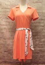 NEW Lady Hagen CORAL ORANGE Golf Tennis Dress Sash Belt Attached Shorts Size S