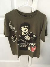Men's Obey War Spray Paint Andre Giant Graphic T-shirt Green Size Medium