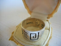 Vintage Taxco Mexico Signed Magel Oxidized Sterling Silver Band Ring  12PNM
