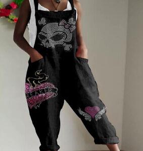 Sexy Women Ladies Gothic Shirt Skull Sleeveless Jumpsuits Summer Playsuit E6271