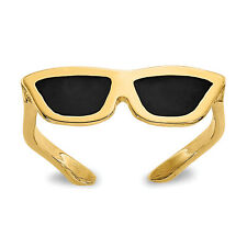 Solid 14k Yellow Gold Enameled Sunglasses Toe Ring - Casted and Polished Finish