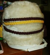 VTG. WHITE PLUSH MARCHING BAND HAT WITH TASSELS