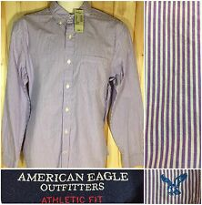 Men's American EagleOutfitters Striped Athletic Fit Dress Shirt Purple White M