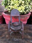 1800's Antique Iron Hand Carved Chair Shape Stand Candle Stand