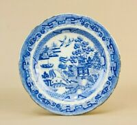 19C Willow Small Plate Blue & White Side Starter Victorian Serving Dish Antique