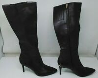Calvin Klein Women's Shoes Karon Leather Pointed Toe Knee High Brown Size 11