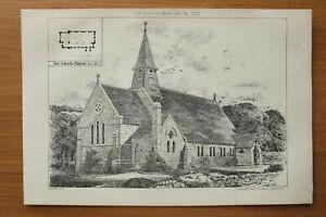 BN77d) Litho Penycae North Wales 1877 neue Kirche Architektur England 21x30 cm
