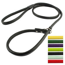 PU Leather Dog P-leash Slip Collar Choke Leashes Durable Training Rope Show Lead