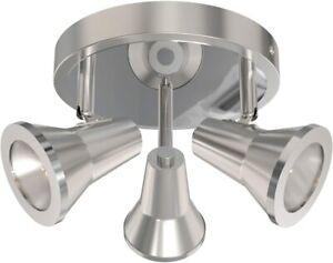 """Bathroom Ceiling Spotlights Nickel Finish Adjustable 10.5"""" in 3 Light Modern"""
