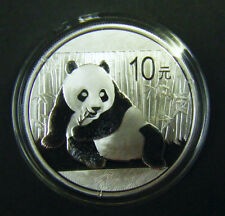 2015 China Silver Panda coin 1 oz .999 Fine 10 Yuan Chinese in Capsule