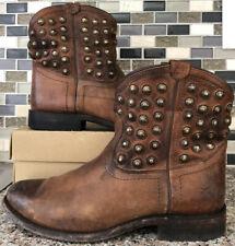 NEW Frye Women/'s Chestnut Natalie Stud Double Zip Boot Round Toe 73282-CHT $358