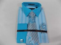 Men's Bruno Conte Turquoise French Cuffs Striped Dress Shirt,Tie,Hanky,Cufflinks