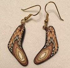 Handmade  Fimo Polymer Clay Earrings Drop Dangle Brown Butterfly Wing Boomerang