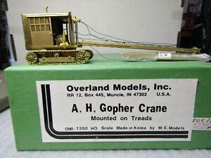 OVERLAND MODELS 1350 HO/HOn3 A.H.GOPHER CRANE ON TREADS BRASS NIB PRE OWNED