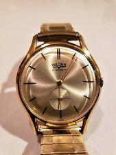 Vintage Rare Vulcain Mens Ultra Thin Slim 17 Jewel Gold Wristwatch Watch Running