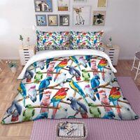 Bird Animal Quilt Duvet Doona Covers Set Single Double Queen King Size Bed Linen