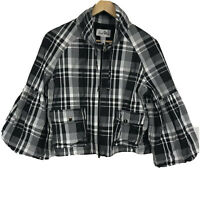 Joseph Ribkoff Women's Jacket Pockets Black White Plaid Cropped Lined Zip Up 10