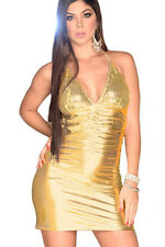 Solid Sequin Cup Party Night Club Mini Dress Gold Medium