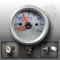 "speedo gauge tachometer rev counter rpm silver dial face 52mm 2"" with dash pod"
