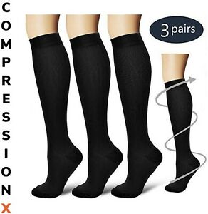(3 Pairs) S-XXXL Compression X Socks Knee High 20-30mmHg Graduated Mens Womens