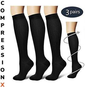 (3 Pairs) S-XXXL Compression X Socks Knee High 20-30mmHg Graduated Mens Womens