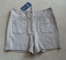 M&S Limited Mink Beige Faux Suede Shorts Size 10 BNWT Stretch Machine Washable