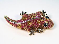 3.69 CTW RUBY & SAPPHIRE GECKO BROOCH - 14k TWO-TONE GOLD-plated 925 SILVER