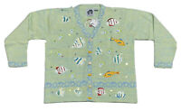 HSN NWT Storybook Knits Sequin Sparkling Fish Cardigan Spring Easter Sweater L