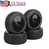 US 4X 90mm Rubber Front&Rear Tires &Wheel For HSP HPI RC 1:10 Buggy Off-Road Car