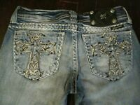 Miss Me Jeans size 26 Boot / Studded Cross Pocket Low Rise